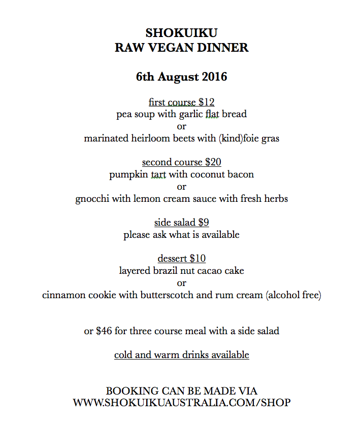raw vegan dinner , melbourne