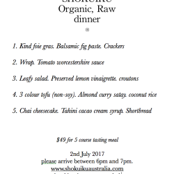 raw vegan 5 course dinner