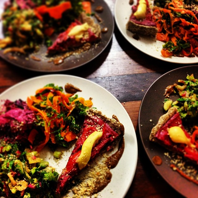 raw dinner main meal beetroot quiche